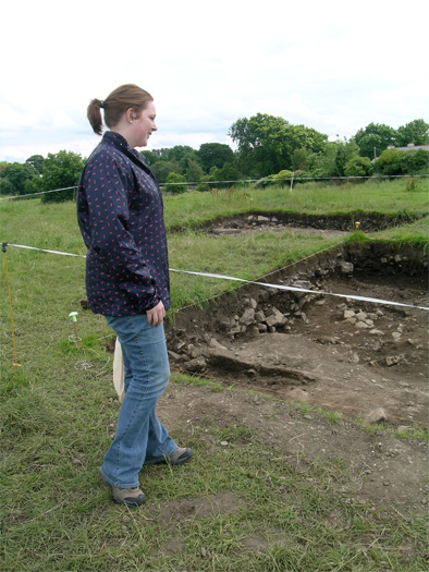 Rachel Barret (Archivist, Archaeological Survey of Ireland) inspects the cuttings at the close of day.