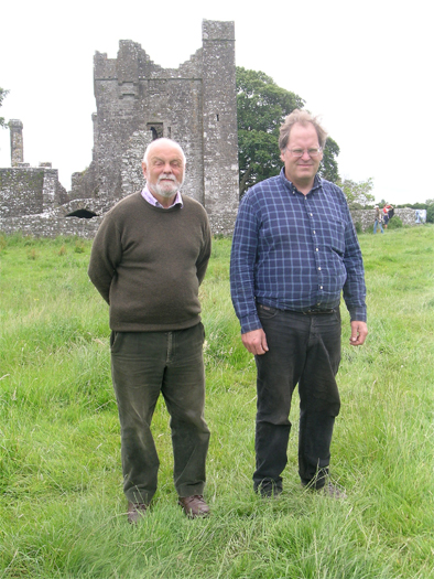 Our first distinguised visitor. Castle expert David Sweetman, former Chief Archaeologist of Ireland, inspects the site with co-director Matthew Stout.