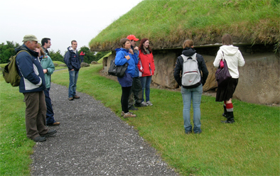 The sodden Irish Archaeological Field School at Knowth Passage Tomb.
