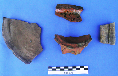 Selection of medieval pottery.