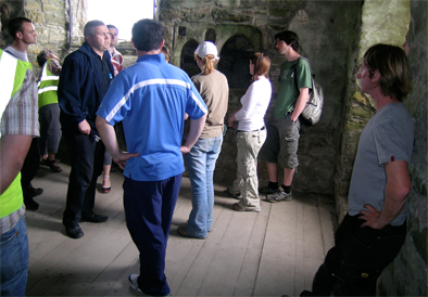 The Irish Archaeological Field School's visit to Trim Castle. David, our guide, shows us the castle chapel.