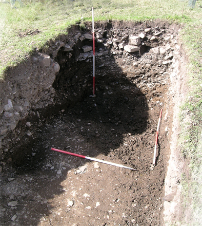 Cutting E – The Medieval ditch was bottomed two metres below the sod.